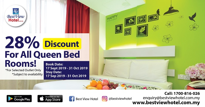 28% OFF for all Queen Bed Rooms.